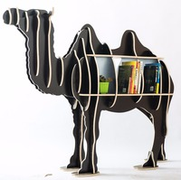 Large Bookcase Display Storage Furniture for CDs, Movies &Books Animal Camel Display Bookrack Wooden Bookcase Shelves Desk Table