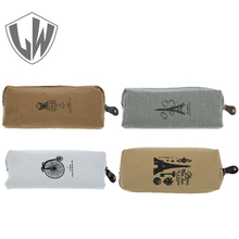 School Supplies Cute Kawaii Fabric Pencil Bag Vintage Retro Tower Zipper Pen Bag Holder For Kids