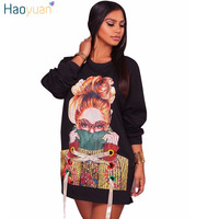 HAOYUAN Sonbahar Kış Kadın Hoodie Elbise Uzun Kollu Gevşek Rahat Elbiseler Cam Kız Baskı Mini Kısa Tunik Cadılar Bayramı Elbise