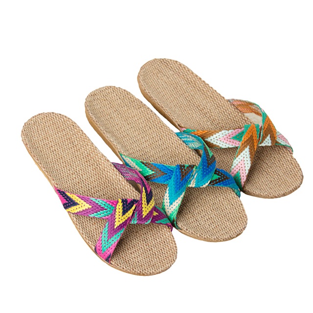 New  Fashion Flax Home Slippers Indoor Floor Shoes Cross Belt Silent Sweat Slippers For  Women Sandals 5