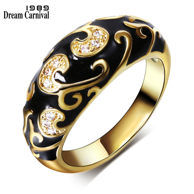 DreamCarnival1989 New Carved Design Popular Engagement Ring Women Gold-color Bla