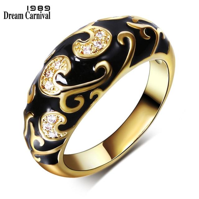DreamCarnival1989 New Carved Design Popular Engagement Ring Women Gold-color Bla