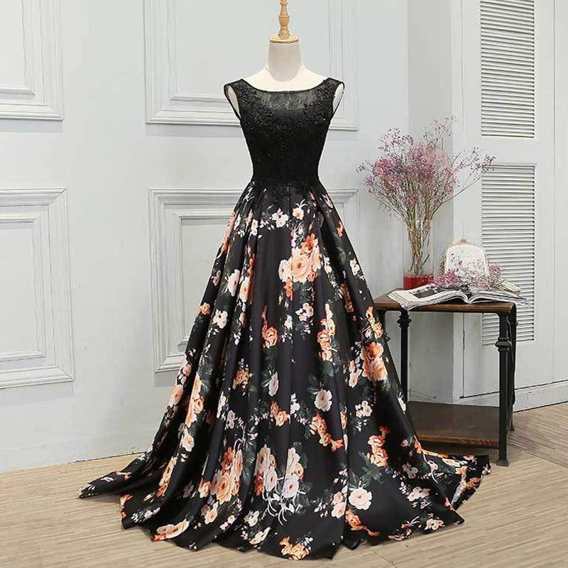 Long Evening Dress  Hot Sale Boat Neck Sleeveless Black Lace Up Floor Length Formal Evening Dresses Robe De Soiree