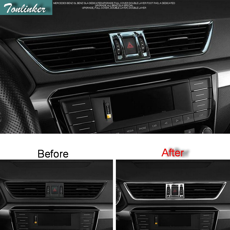 Tonlinker Cover Case Stickers For SKODA SUPERB 2016-17 Car Styling 3 Pcs stainless steel Dashboard air outlet cover stickers bjmycyy 2 pcs car styling stainless steel small speaker circle patch stickers cover casw for chevrolet trax 2014 accessories