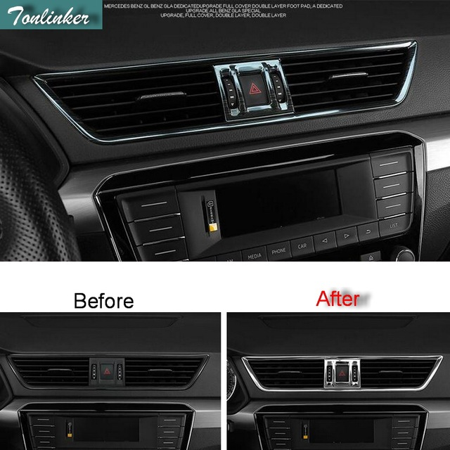 Tonlinker Cover Case Stickers For SKODA SUPERB 2016 17 Car Styling 3 Pcs stainless steel Dashboard air outlet cover stickers