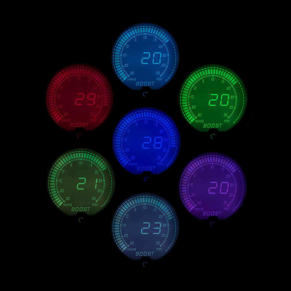 """جديد 2 """"52 مللي متر EVO LCD 7 ألوان سيارة توربو مقياس دفعة العالمي مرآة سيارة رقمية دفعة متر Psi مع الاستشعار /سيارة متر TT100110"""