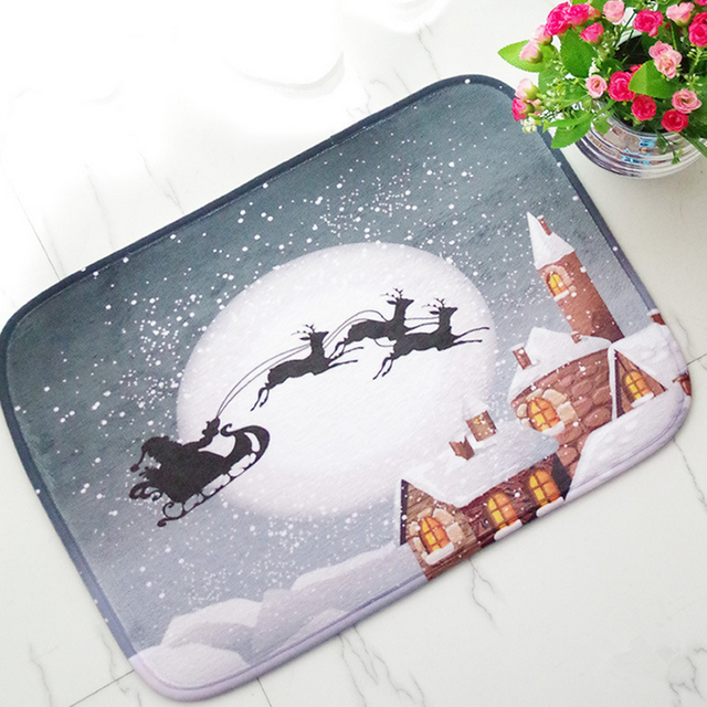 1 PC Xmas Door Mat Living Room Anti Slip Foot Mat For Christmas New Year