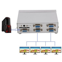 4 Port SVGA VGA Splitter 250MHz 1 PC to 4 LCD CRT Video Monitor For PC Projector #K400Y# DropShip