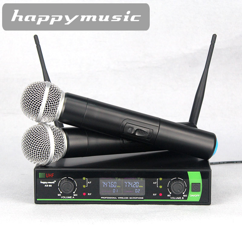 New High Quality UHF Professional AS-68 Dual Wireless Microphone System stage performances a two wireless microphone