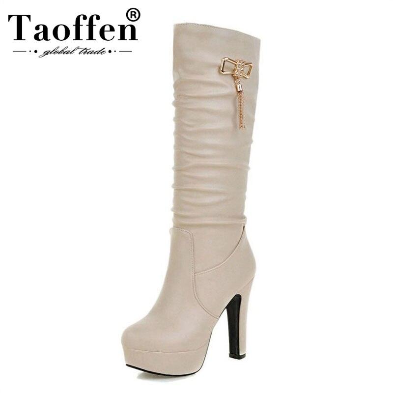 TAOFFEN taille 31-45 femmes genou talons bottes plate-forme gland épais talons hauts bottes chaussures chaudes hiver Botas femme chaussures