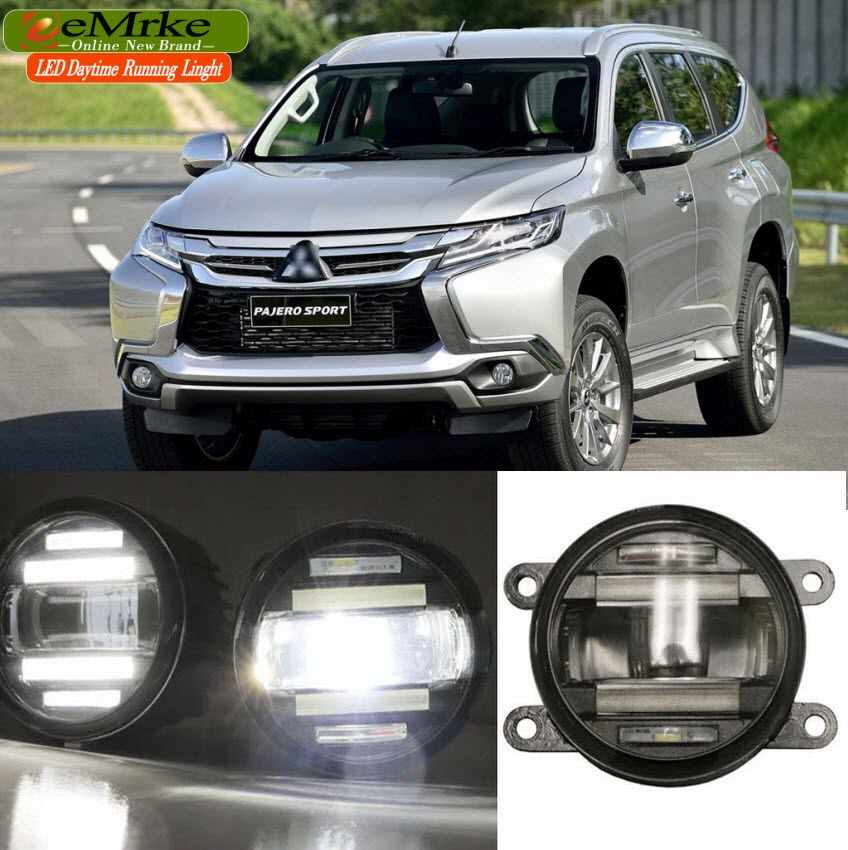 eeMrke Car Styling For Mitsubishi Pajero Sport 2016 2 in 1 LED Fog Light Lamp DRL With Lens Daytime Running Lights eemrke car styling for opel zafira opc 2005 2011 2 in 1 led fog light lamp drl with lens daytime running lights