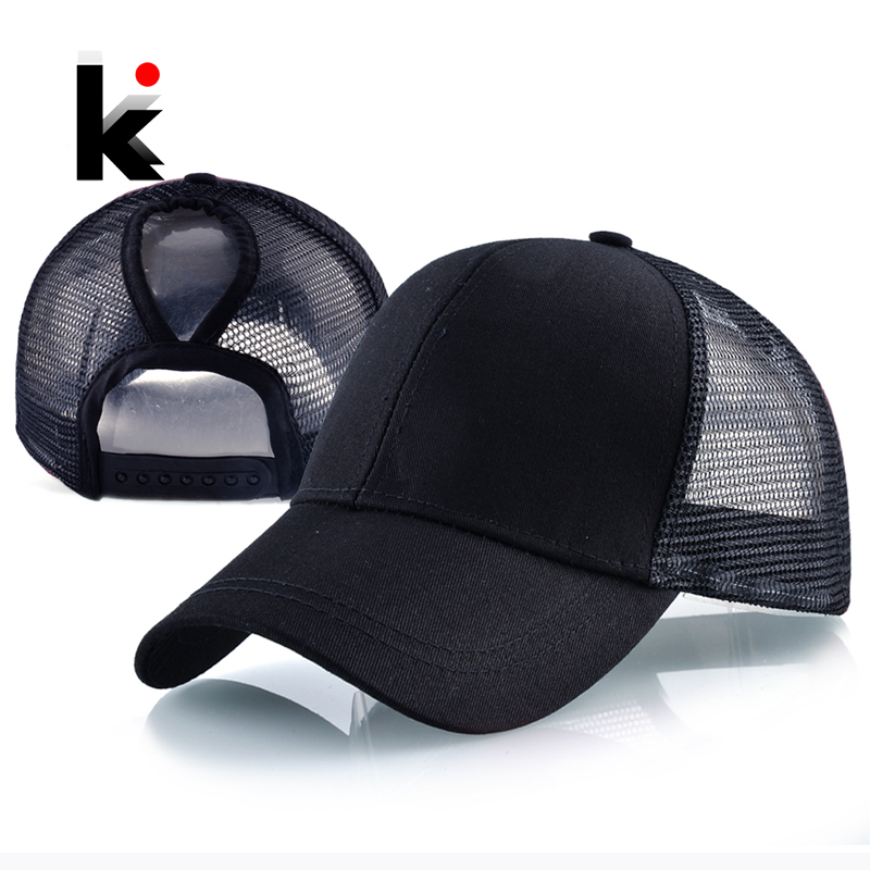 2018 New Fashion Ponytail Baseball Cap Women Summer Mesh Snapback Hats Female Messy Bun Black Hat Casual Cotton Bone Casquette feitong summer baseball cap for men women embroidered mesh hats gorras hombre hats casual hip hop caps dad casquette trucker hat
