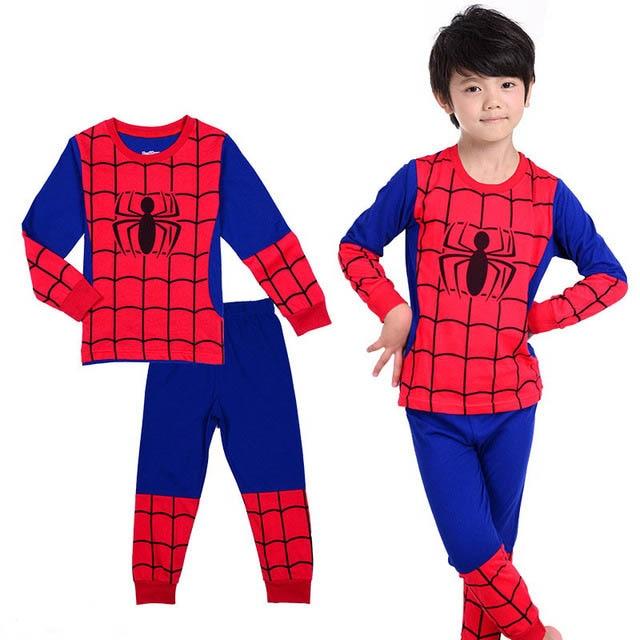 620aef244 2017 Girl boy cotton Pajamas sets cartoon Superman Spider Man Kitty ...