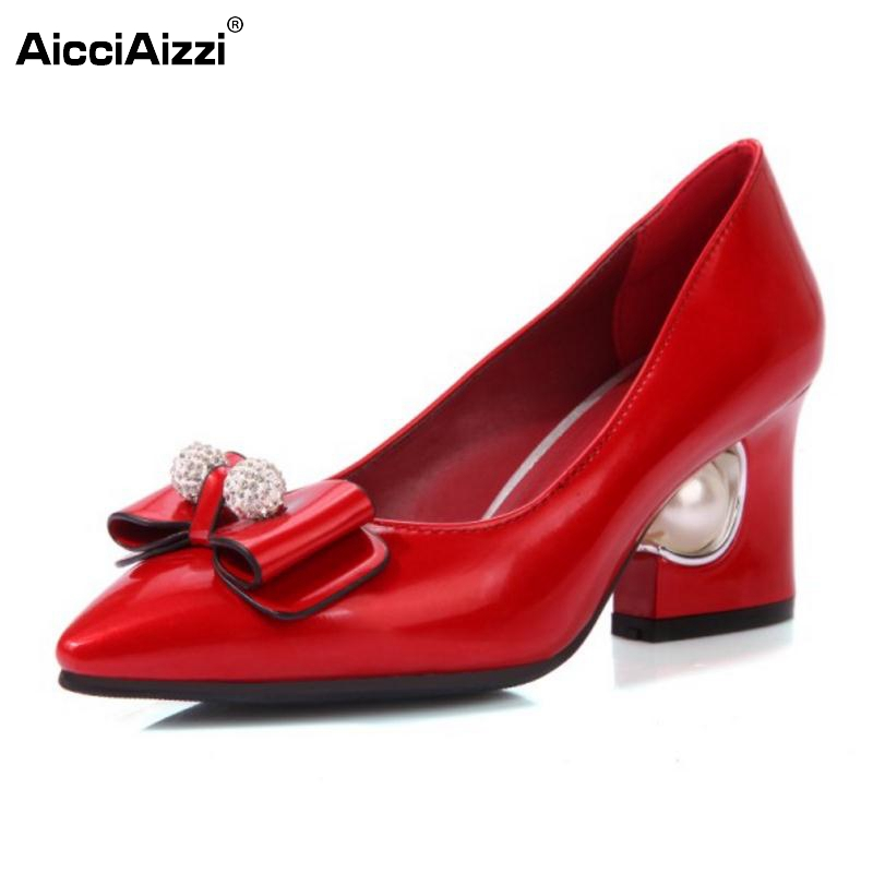 ФОТО New Women Pumps Elegant Bowtie Fashion Thicked High Heels Slip-on Shoes Women Sexy Pointed Toe Ladies Party Shoes Size 31-48