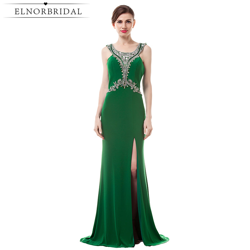 Emerald Green Evening Dresses Long 2017 Elegant Robe De Soiree Formal Women Party Dress Backless Mermaid Prom Gowns