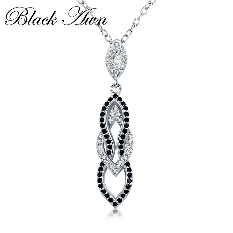 Black & White Silver Eternity Band Fine Jewelry Trendy Engagement Necklaces For Women Wedding Necklaces Pendants P178