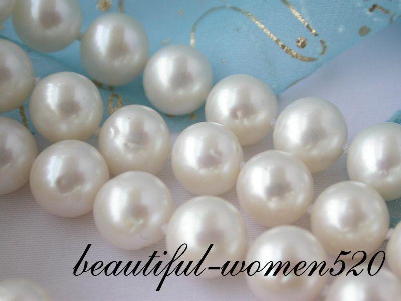 Z2039 3row 10mm rond blanc fw perle bracelet mabe argent fermoir - 3