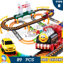 89pcs AlanWhale Thomas Train Friends Motorized Battery Train Track Orbital Electric Trains Rail Car Baby Children