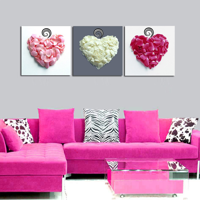 3 Panel Love Heart Flower Petals Art Pictures Canvas Bedroom Head of Bed Wall Decorative Canvas Painting No Frame