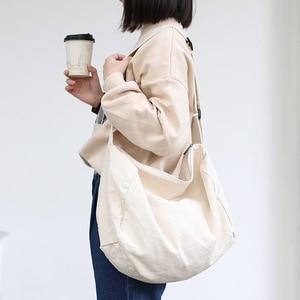 Image 4 - 女性のキャンバスのショルダーバッグ綿の布クロスボディバッグ固体ジッパーハンドバッグショッピングバッグトートバッグ学生エコシンプルなブックバッグ