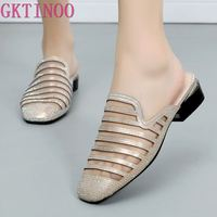 GKTINOO 2019 New Summer Women Slippers Closed Toes Square Heels Lady Sandals Fashion Mesh Rhinestone female Shoes Plus Size