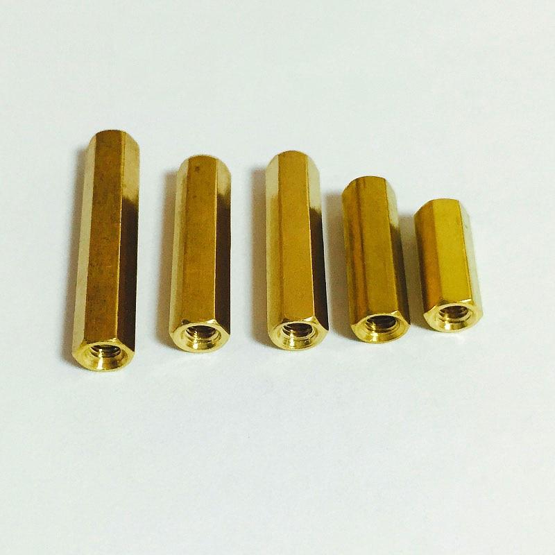 5PCS Double-Pass Pillars Flat Head Pillars Hollow Pillars Hexagonal Copper Stud Isolation Column High Quality M4 * 20 mm