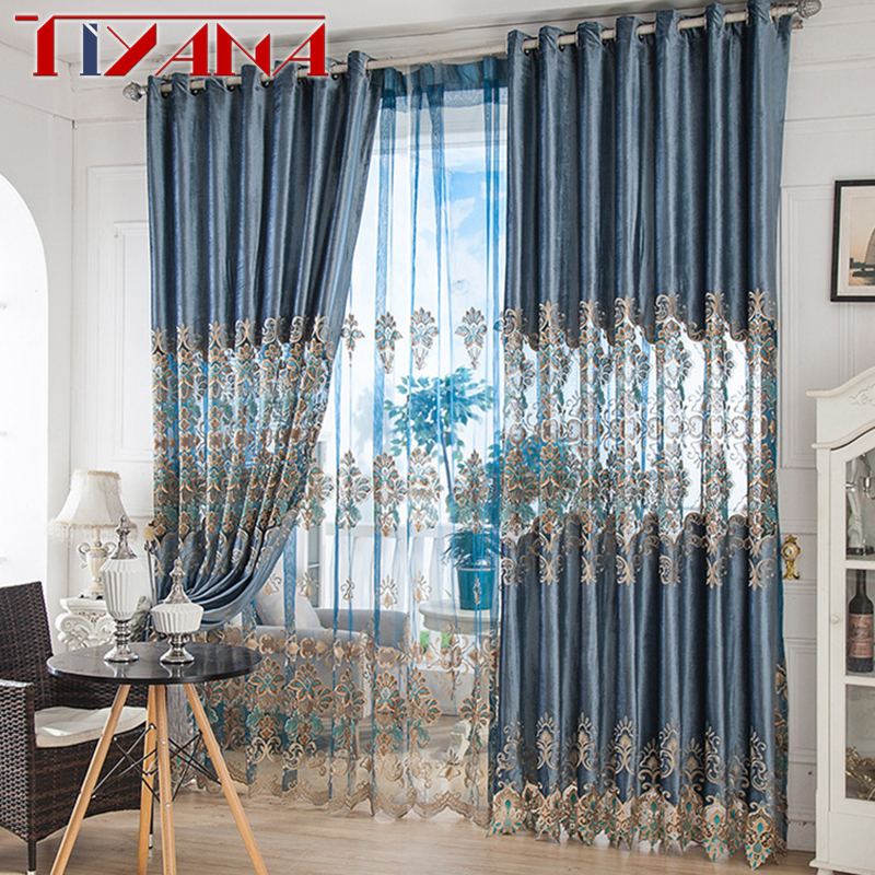 US $15.78 33% OFF|European Royal Embroidery Half Shading Curtains For  Living Room Blue Curtains Tulle Voile Drapes For Bedroom Home Decor  AG037&3-in ...