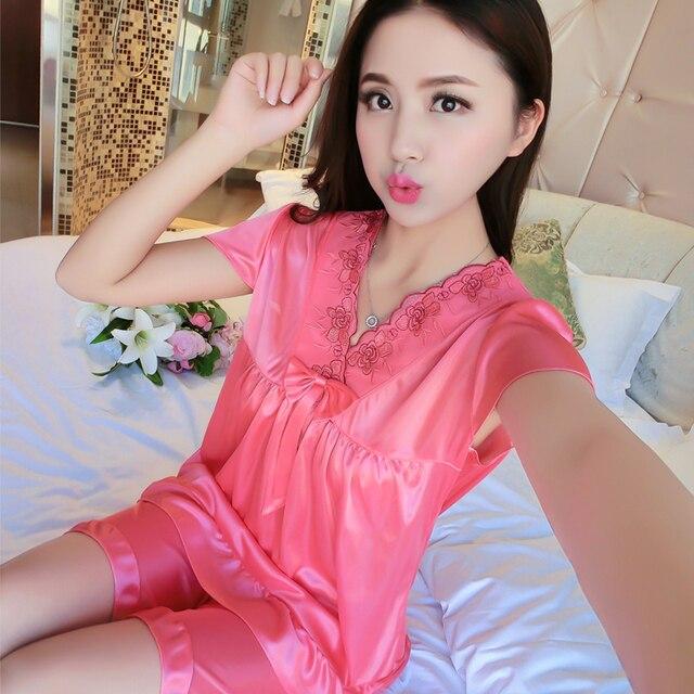 95b81b2015 WAVMIT 2018 Spring Summer Pyjamas Women Satit Pattern Pajamas Set Ice Silk  Girl Pijama Mujer Sleepwear Young Girl Pajama Sets
