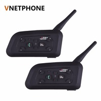2pcs Set V6 Motorcycle Helmet Bluetooth Headset Intercom 6 Riders 1200M Wireless Interphone BT Headset