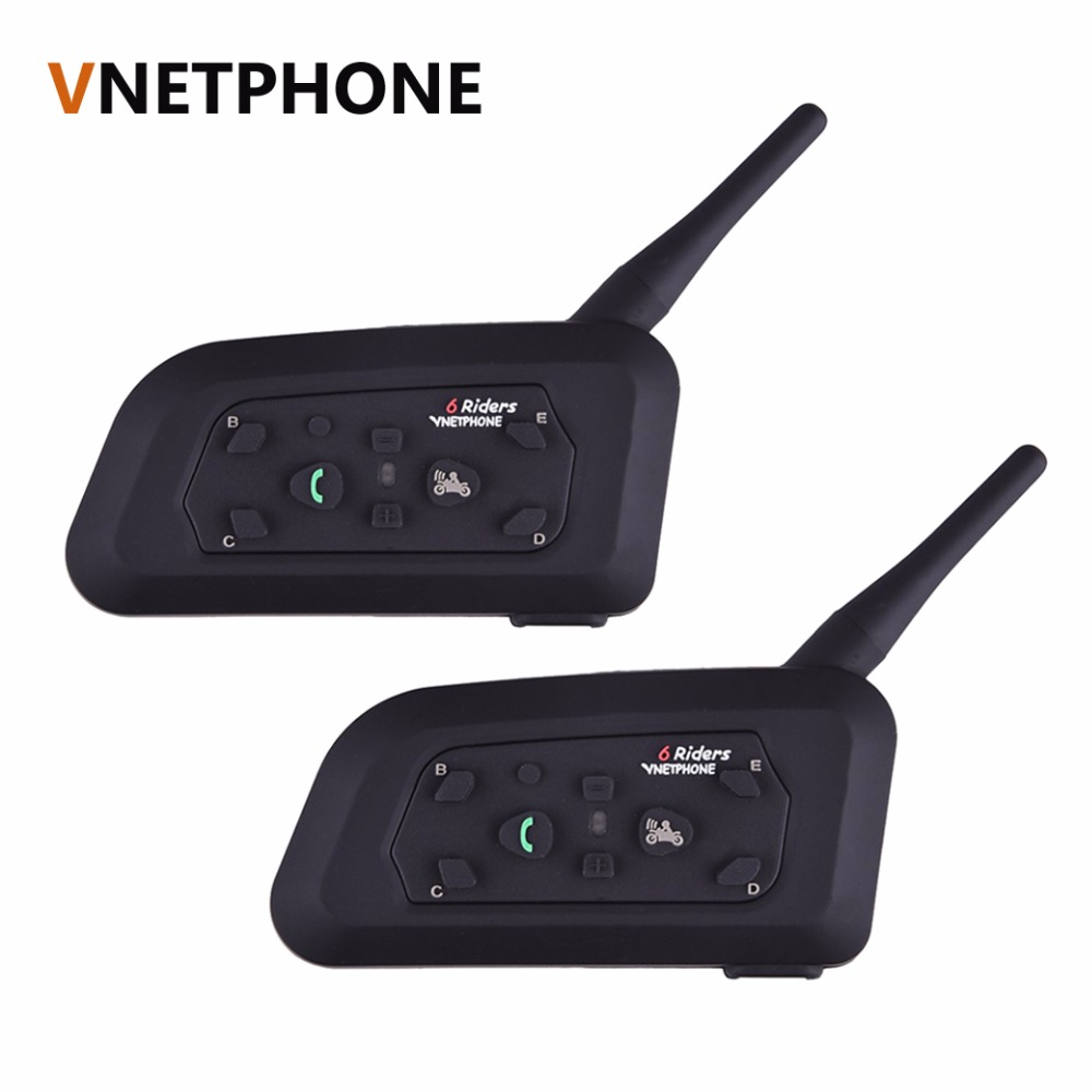 2pcs/set V6 Motorcycle Helmet Bluetooth Headset Intercom 6 Riders 1200M Wireless Interphone BT Headset vnetphone 5 riders capacete cascos 1200m bt bluetooth motorcycle handlebar helmet intercom interphone headset nfc telecontrol