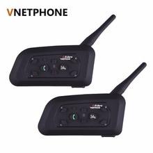 2pcs/set V6 Motorcycle Helmet Bluetooth Headset Intercom 6 Riders 1200M Wireless Interphone BT Headset