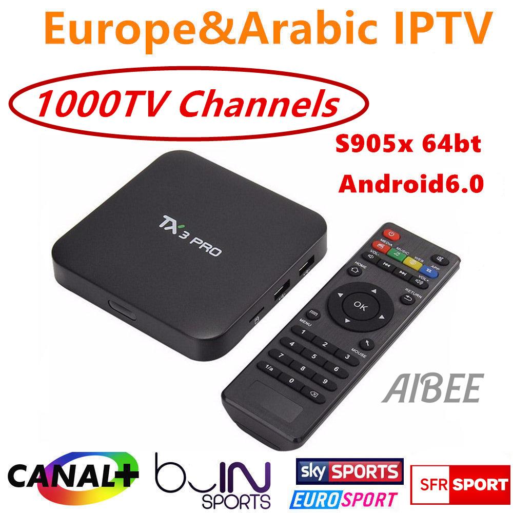Prix pour IPROTV 1 Année L'europe Français Arabe Italie IPTV 1000 Chaînes de TÉLÉVISION Canal plus TX3 pro TV Box Quad Core S905X Android 6.0