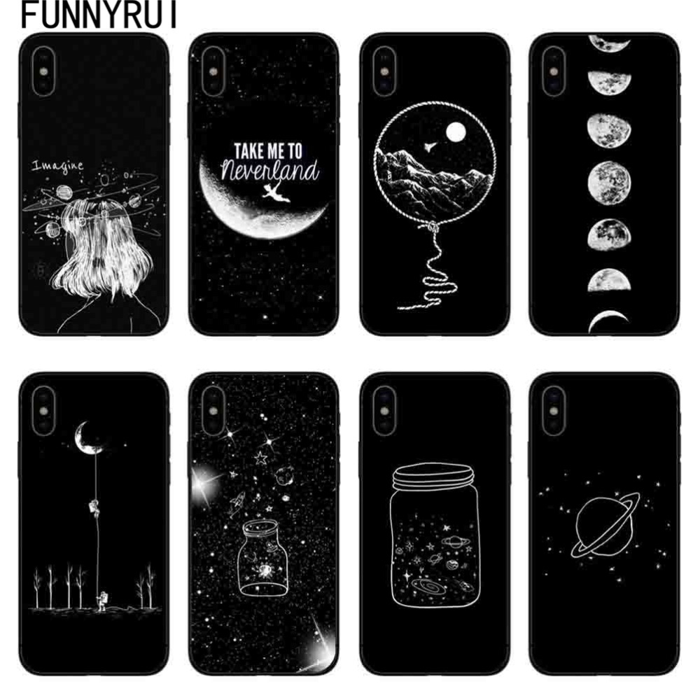 Sky Space Planet Black And White Sun Moon Stars Tpu Soft Silicone Cover Case For Iphone 6 6s 6plus 7 7plus 8 8plus X 5 5s Se Cellphones & Telecommunications