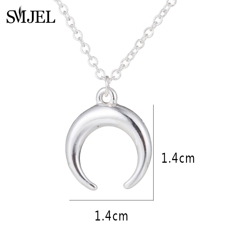 ALI shop ...  ... 32840292004 ... 2 ... SMJEL Silver Color Curved Cresent Moon Horn Pendant Necklaces Women Moon Gothic Handmade Necklace Choker Collier femme Jewelry  ...