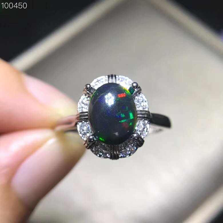 New products natural black Opal ring 925 silver inlay hot selling From Australia Beautiful fire