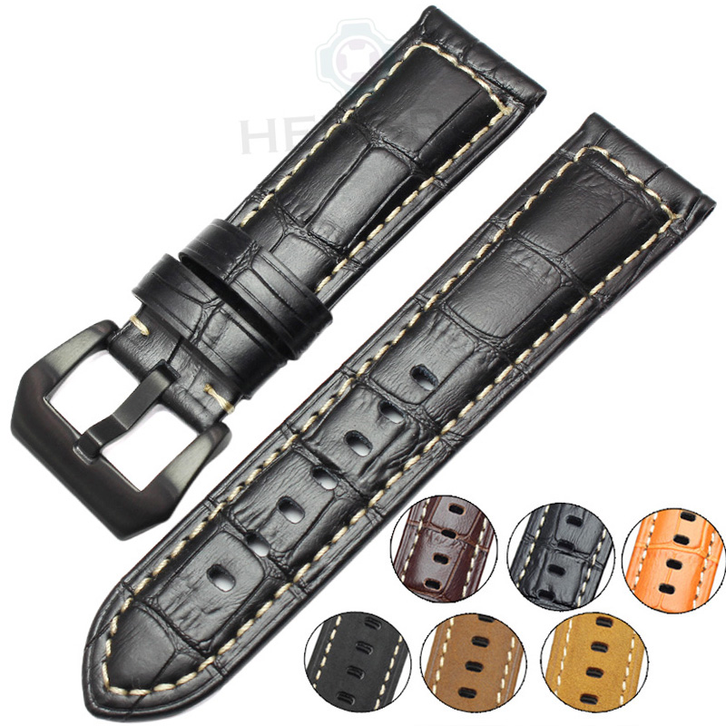 Genuine Leather Watchbands Men High Quality Thick Watch Band Strap 22mm 24mm Brown Black Wristwatches Belt Buckle For Panerai hengrc fashion genuine leather watch band belt 20mm 22mm brown blue high quality men strap metal needle buckle for panerai