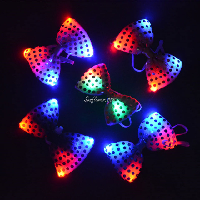 sequin led flashing bow tie necktie women men boys girls light up tie performance show - Light Up Christmas Tie