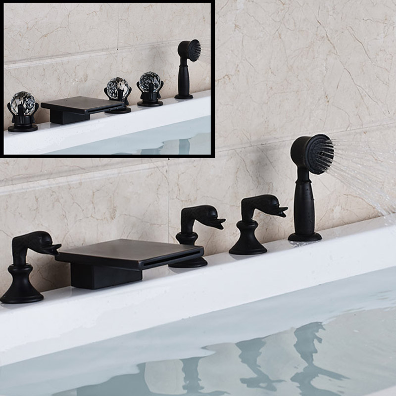 2 Styles Luxury Brass Widespread 5 Holes With Handhshower Bathtub Faucet  Deck Mounted Waterfall Spout Roman Tub Filler In Shower Faucets From Home  ...
