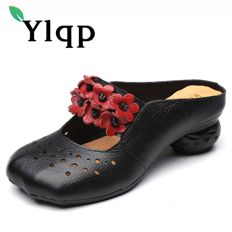 Ylqp 2018 Summer Folk Style Genuine Leather Female Slippers Women Shoes Original Vintage Soft Bottom Hollow Out Flower Sandals ylqp women s genuine leather sandals shoes summer soft bottom comfortable flat bottomed mother sandals hollowed out ladies shoes