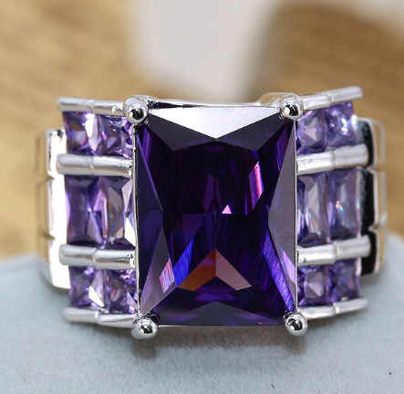 Genuine 925 sterling silver Ring Dark Purple CZ Wedding Rings For Women Engagement Band Charming Gift Anillos Wholesale