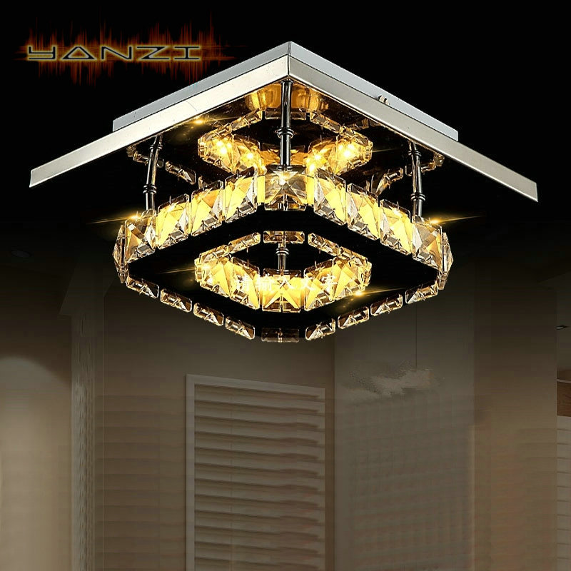Fashion Ceiling Lamp Bedroom Light 12W LED Crystal Ceiling Lamp Surface Mount Lighting Stainless Steel Lamp