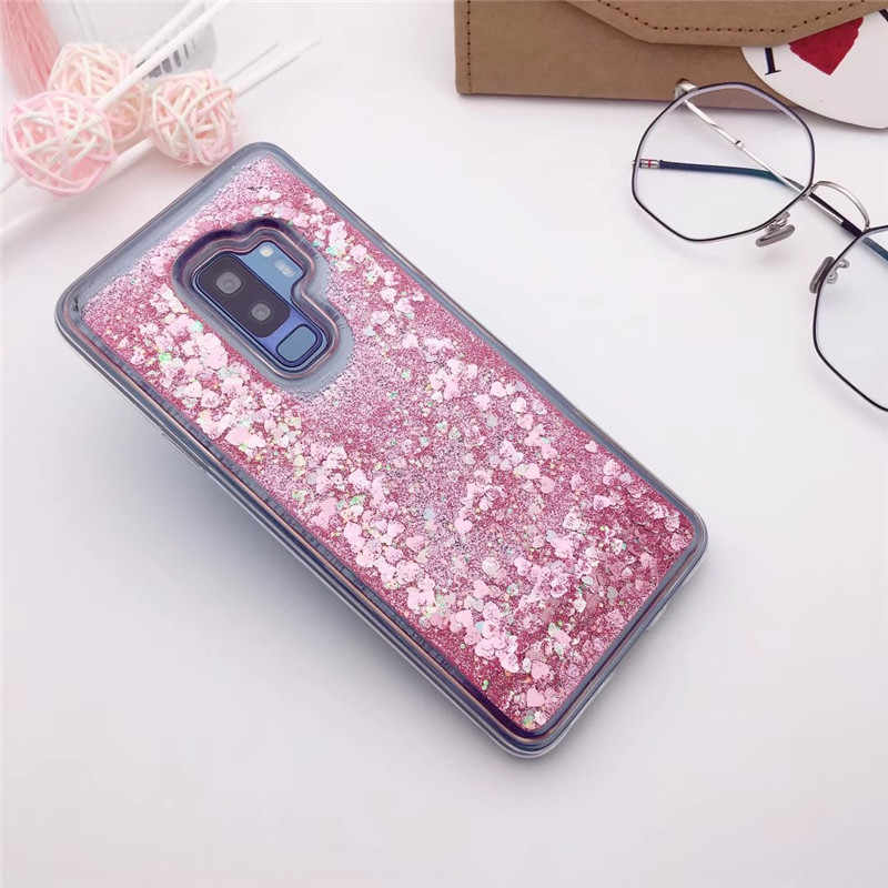 Glitter Liquid Quicksand Love Heart Star Soft TPU Cover For Samsung Galaxy S8 S9 S10 S10e Note 8 9 A8 J6 J4 Plus 2018 Clear Case
