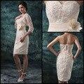 2015 атласная мать невесты платья бежевый милая рукавов мини ручной цветок группа Ruched радужные оболочки платье