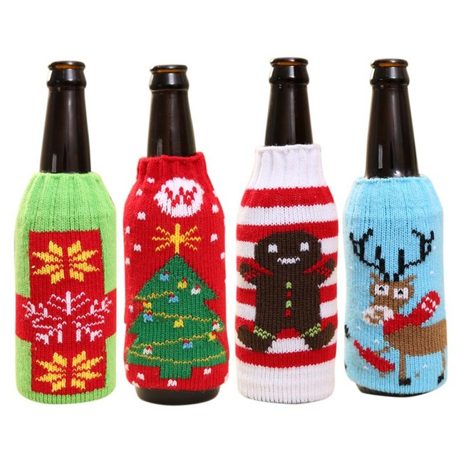 New Christmas Beer Set Household Items High Grade Knitted Christmas Fascinating Decorate Beer Bottles For Christmas