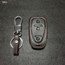 Genuine leather car key cover case set for Chevrolet Praise fashion men 3 buttons remote control keyring Protective shell