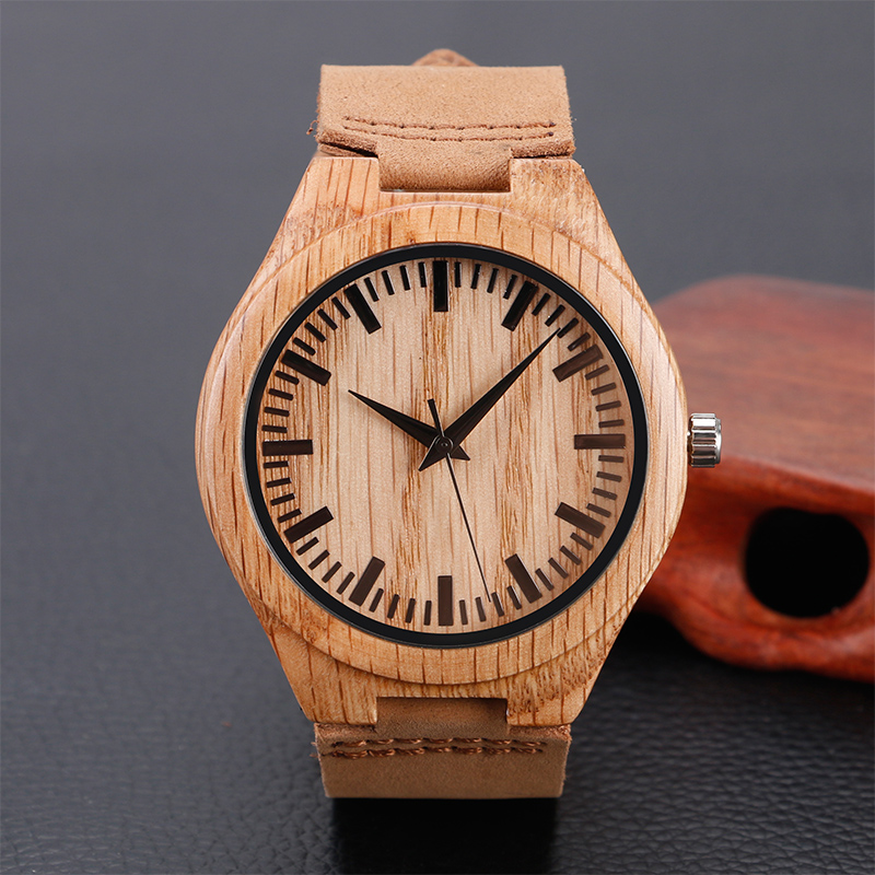Casual Simple Wood Watch Men Minimalist Wrist Watch Fashion Leather Quartz Wooden Bamboo Watch Men Sports