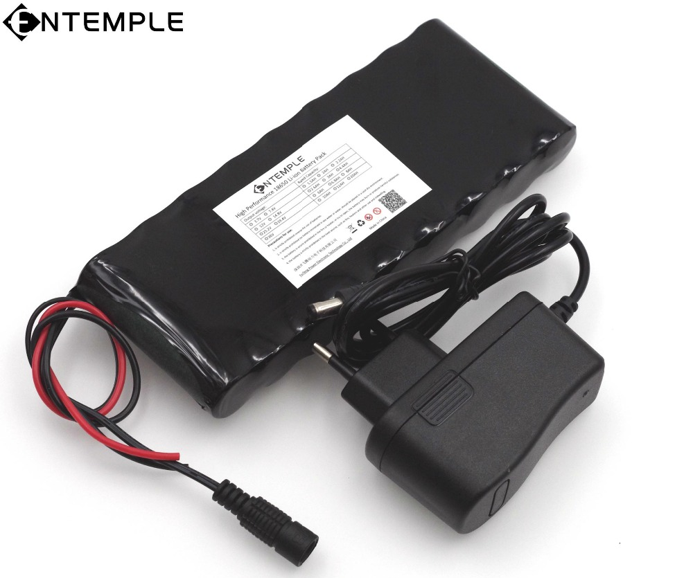 ENTEMPLE 12 v 9.8Ah 9800mAh 18650 Rechargeable Battery 12V Protection Board CCTV Monitor battery +12.6V 1A Charger