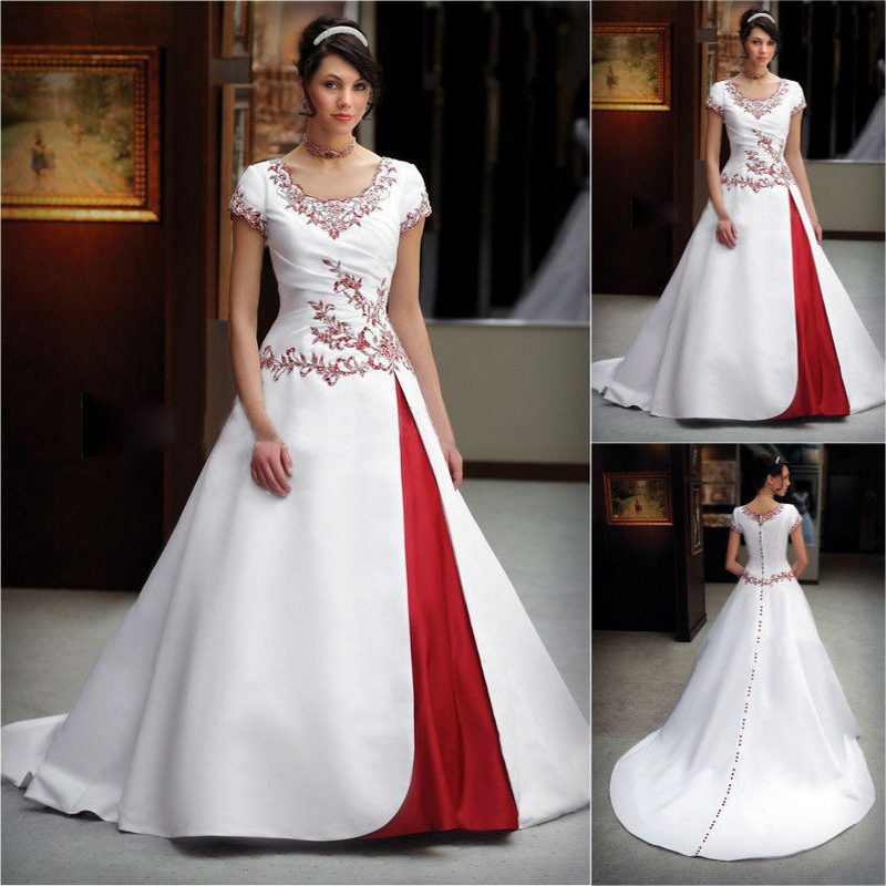 Vintage ivory red wedding dresses 2017 elegant split short for Red wedding dresses with sleeves