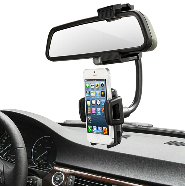 Galleria fotografica Car Rearview Mirror Mounts Mobile Phone Holders Stands For Galaxy S8 Active/Xcover 4/J3 Emerge/J1 Mini Prime (2016)/A5 (2017)