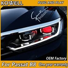 KOWELLรถยนต์สำหรับVW Passat B8 ไฟหน้า 2016 2017 2018 EUR Verson Passat LEDไฟหน้าDRL Bi Xenonเลนส์high Beam